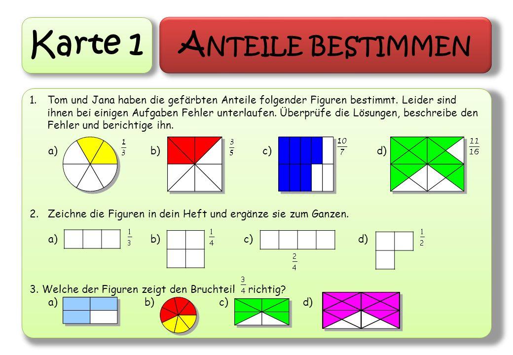 Karte 1 A NTEILE BESTIMMEN 1.Tom und Jana haben die gefärbten Anteile folgender Figuren bestimmt. Leider sind ihnen bei einigen Aufgaben Fehler unterl