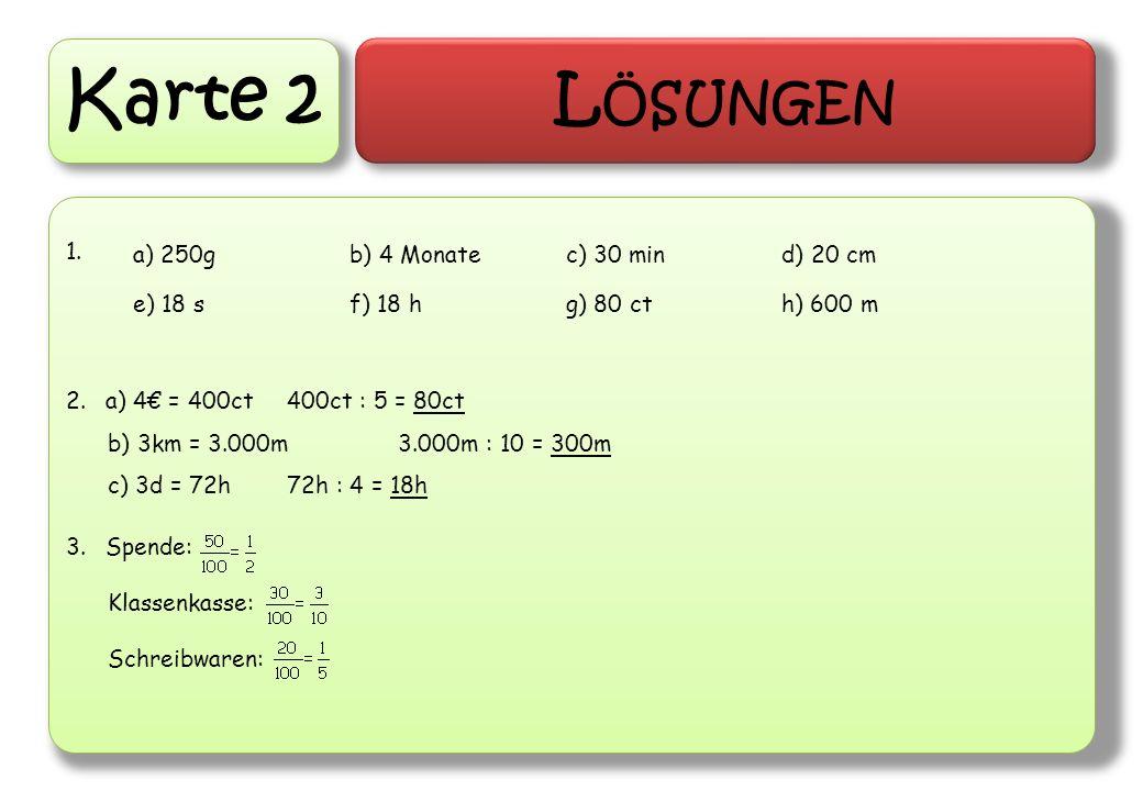 Karte 2 L ÖSUNGEN 1. 2.a) 4 = 400ct400ct : 5 = 80ct b) 3km = 3.000m3.000m : 10 = 300m c) 3d = 72h72h : 4 = 18h 3.Spende: Klassenkasse: Schreibwaren: a