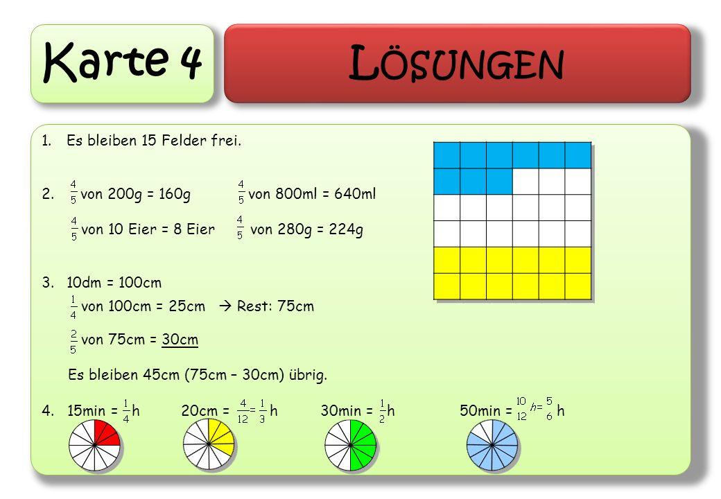 Karte 4 L ÖSUNGEN 1.Es bleiben 15 Felder frei. 2. von 200g = 160g von 800ml = 640ml von 10 Eier = 8 Eier von 280g = 224g 3.10dm = 100cm von 100cm = 25