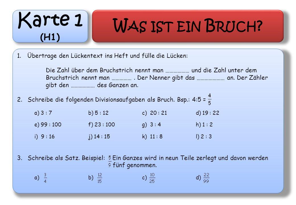 Karte 1 (H1) W AS IST EIN B RUCH ? 1.Übertrage den Lückentext ins Heft und fülle die Lücken: Die Zahl über dem Bruchstrich nennt man ……………… und die Za