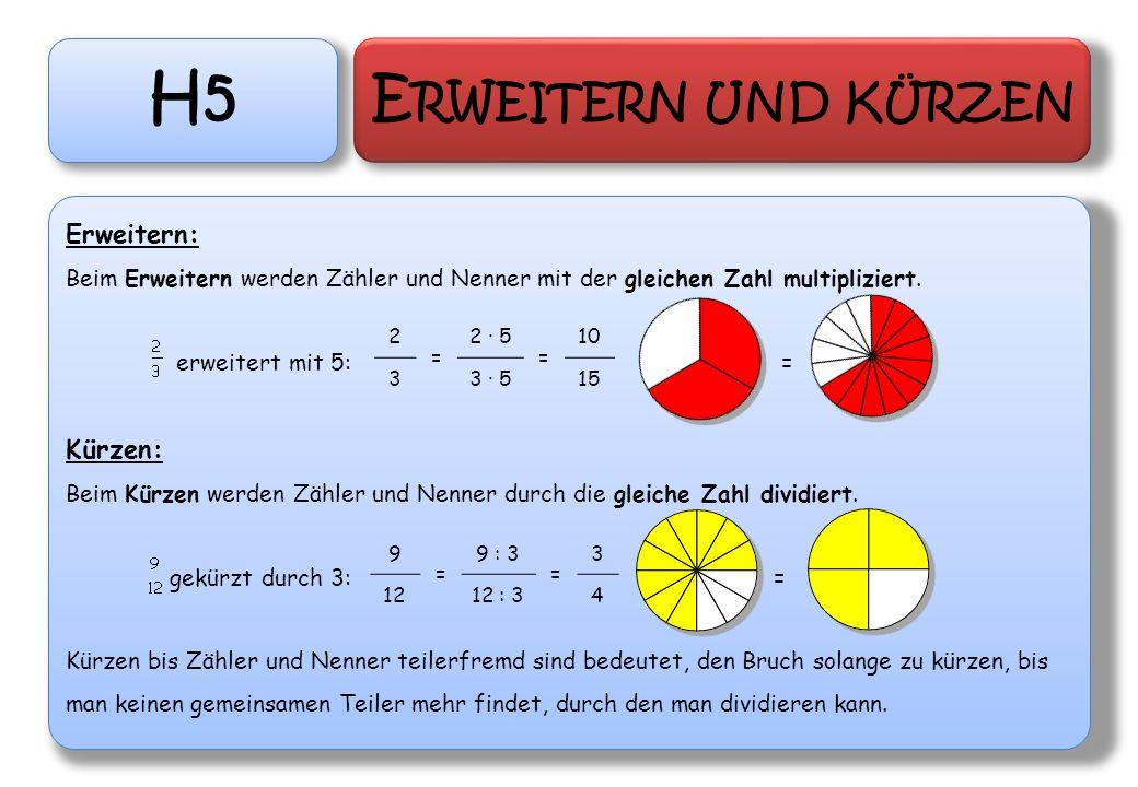 H5 E RWEITERN UND KÜRZEN Erweitern: Beim Erweitern werden Zähler und Nenner mit der gleichen Zahl multipliziert. erweitert mit 5: = Kürzen: Beim Kürze