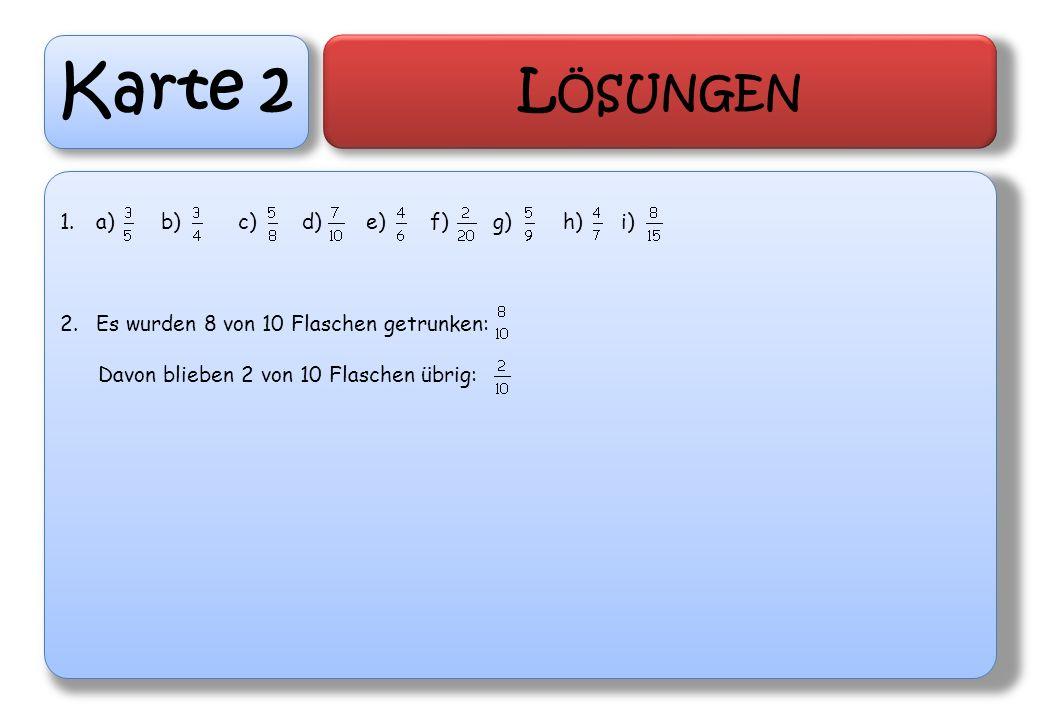 Karte 3 L ÖSUNGEN 1.Bei verschiedenen Nennern und verschiedenen Zählen muss gleichnamig gemacht werden.