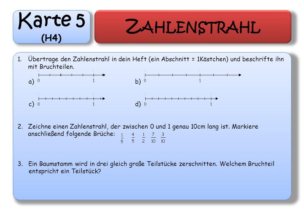 Karte 5 (H4) Z AHLENSTRAHL 1.Übertrage den Zahlenstrahl in dein Heft (ein Abschnitt = 1Kästchen) und beschrifte ihn mit Bruchteilen. a)b) c)d) 2.Zeich