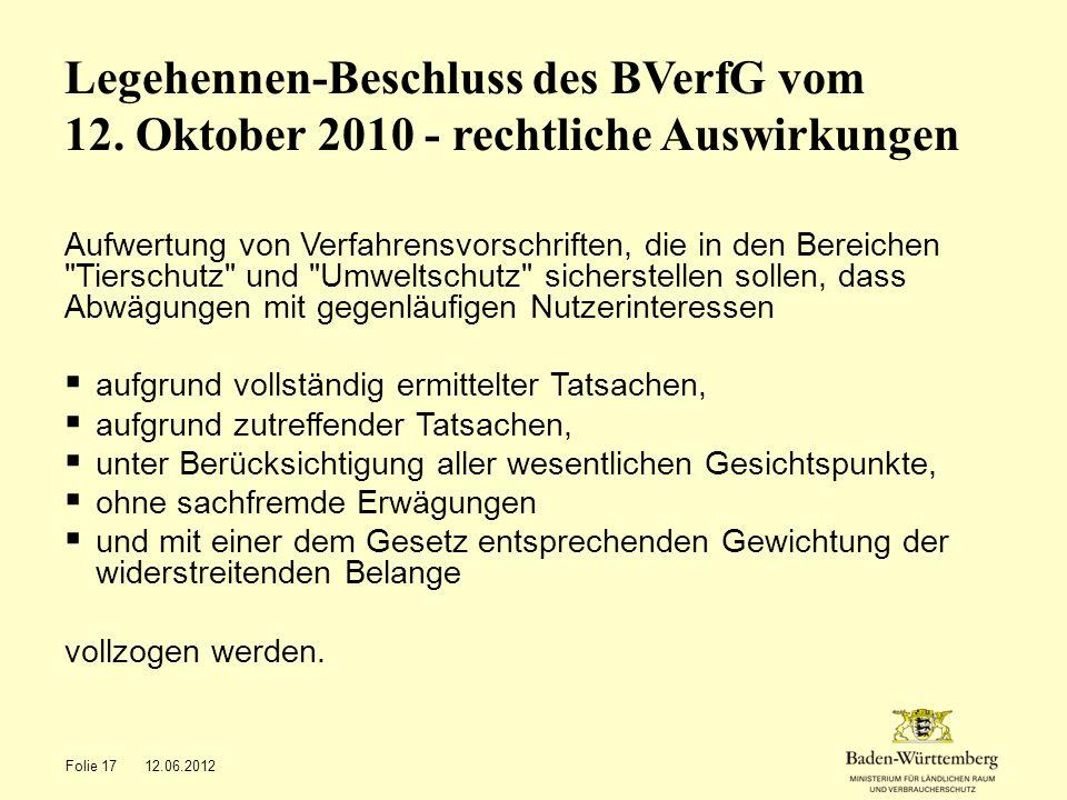 Legehennen-Beschluss des BVerfG vom 12. Oktober 2010 - rechtliche Auswirkungen Aufwertung von Verfahrensvorschriften, die in den Bereichen