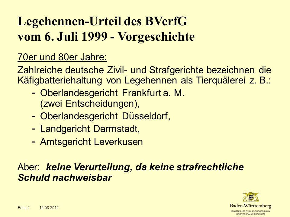 1987: Erlass der Hennenhaltungsverordnung durch die damalige CDU-Bundesregierung von Helmut Kohl Wesentlicher Inhalt: Käfige mit Drahtgitterböden zulässig, Mindestbodenfläche je Legehenne: 450 cm², anteilige Länge des Futtertrogs je Henne: 10 cm, Mindesthöhe der Käfige: 40 bzw.