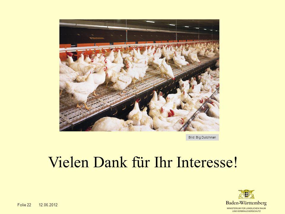 Vielen Dank für Ihr Interesse! Folie 2212.06.2012 Bild: Big Dutchman