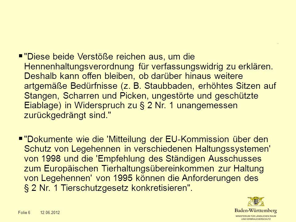 Legehennen-Beschluss des BVerfG vom 12.