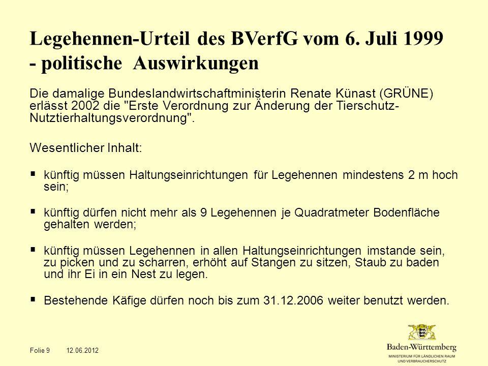 Legehennen-Urteil des BVerfG vom 6. Juli 1999 - politische Auswirkungen Die damalige Bundeslandwirtschaftministerin Renate Künast (GRÜNE) erlässt 2002