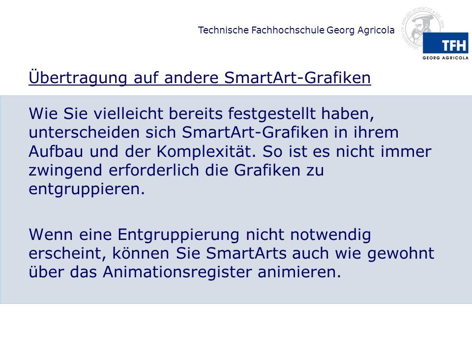 Technische Fachhochschule Georg Agricola Übertragung auf andere SmartArt-Grafiken Wie Sie vielleicht bereits festgestellt haben, unterscheiden sich Sm