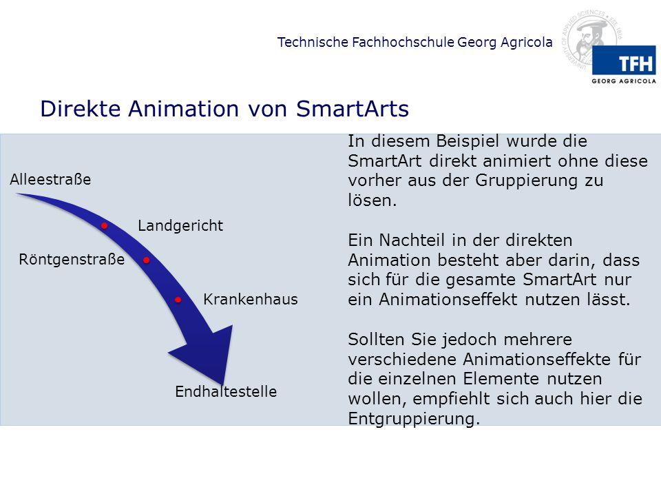 Technische Fachhochschule Georg Agricola Direkte Animation von SmartArts Alleestraße Landgericht Röntgenstraße Krankenhaus Endhaltestelle In diesem Be