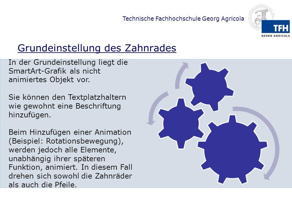 Technische Fachhochschule Georg Agricola Problematik bei der Animation Problemvariante 1 Problemvariante 2 Rad 3 Rad 2 Rad 1 Rad 3 Rad 2 Rad 1 Starten Sie die Präsentation oder die Animationsvorschau um die Problemstellungen anzuzeigen.