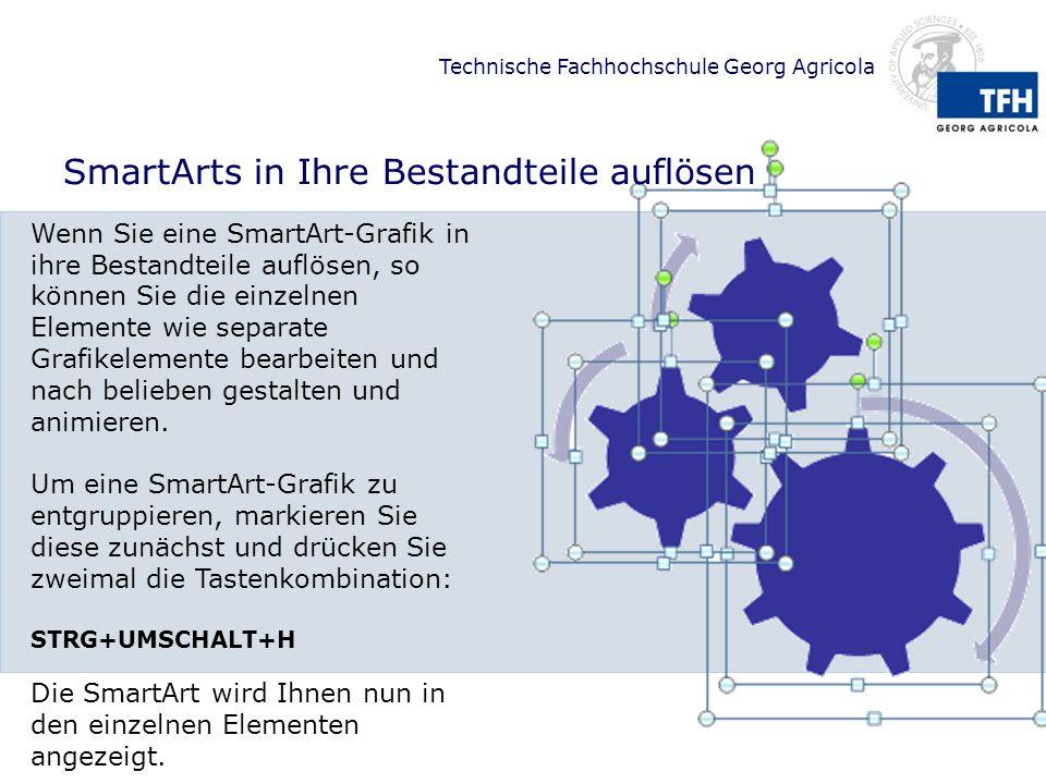 Technische Fachhochschule Georg Agricola SmartArts in Ihre Bestandteile auflösen Wenn Sie eine SmartArt-Grafik in ihre Bestandteile auflösen, so könne