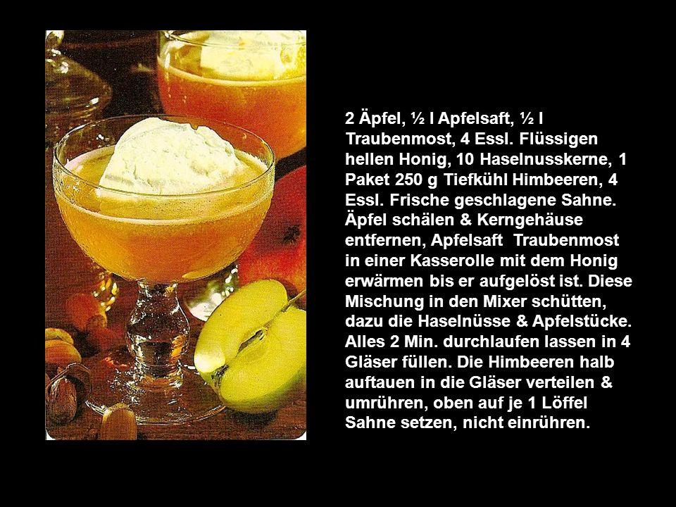 Orange Blossom 8 ungespritzte Orangen, 4 gestr. Essl. Puderzucker, 1 Teel. frisch gepresster Zitronensaft, 4 Eigelb 10 Eiswürfel 1/8 l frische Sahne.