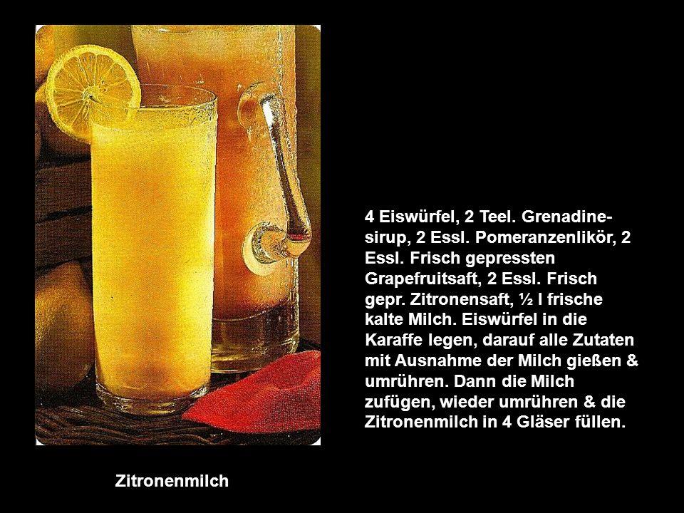 Bananen - Surprise 2 sehr reife Bananen, ½ l Buttermilch, 2 Essl. Sanddornsirup, Saft von ½ Zitrone, 2 Eier, 1 Essl. Honig, evtl. 5 Eiswürfel. Butterm