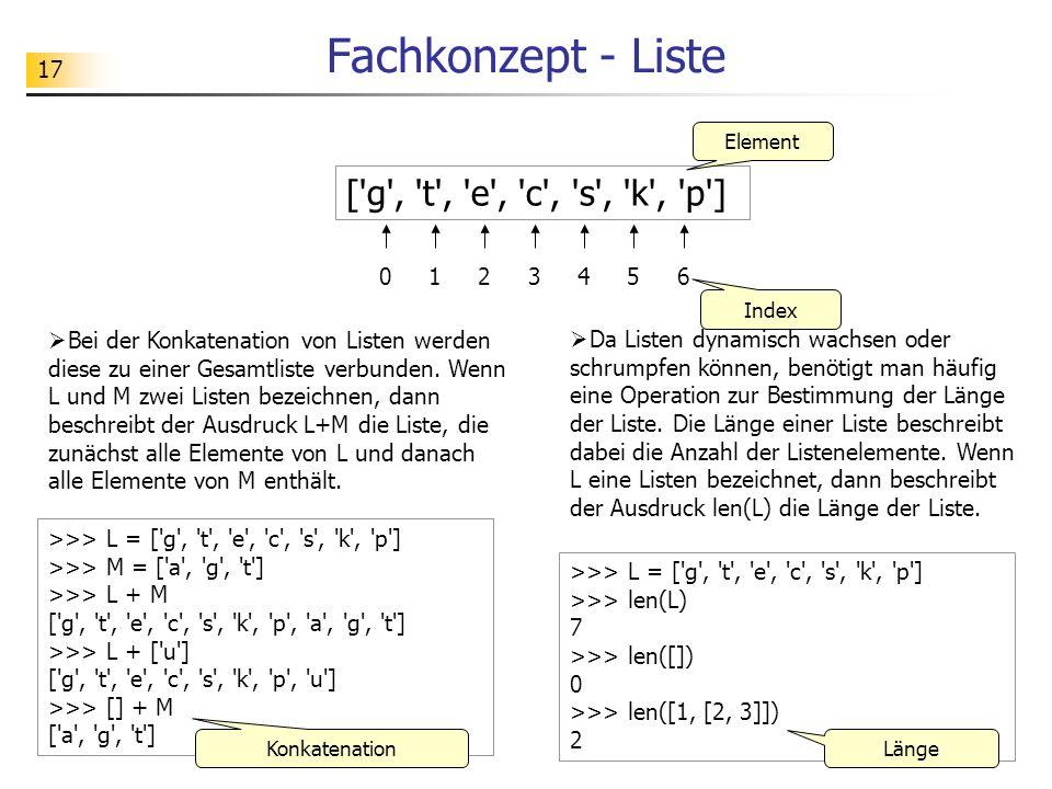 17 Fachkonzept - Liste ['g', 't', 'e', 'c', 's', 'k', 'p'] 012345 Element Index >>> L = ['g', 't', 'e', 'c', 's', 'k', 'p'] >>> M = ['a', 'g', 't'] >>