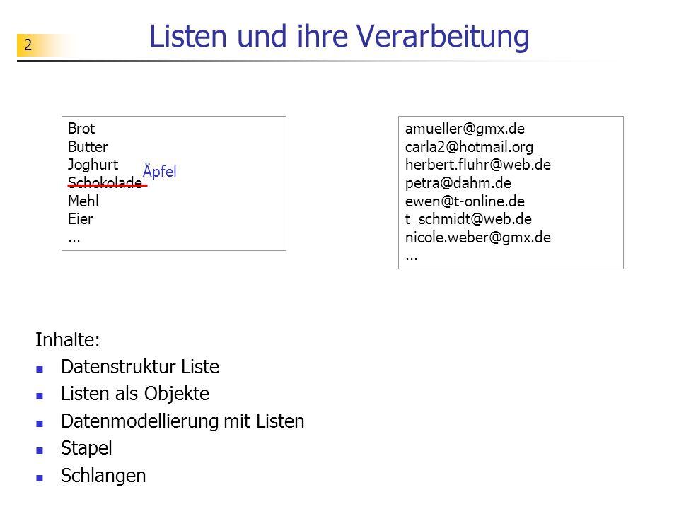 2 Listen und ihre Verarbeitung Inhalte: Datenstruktur Liste Listen als Objekte Datenmodellierung mit Listen Stapel Schlangen amueller@gmx.de carla2@ho