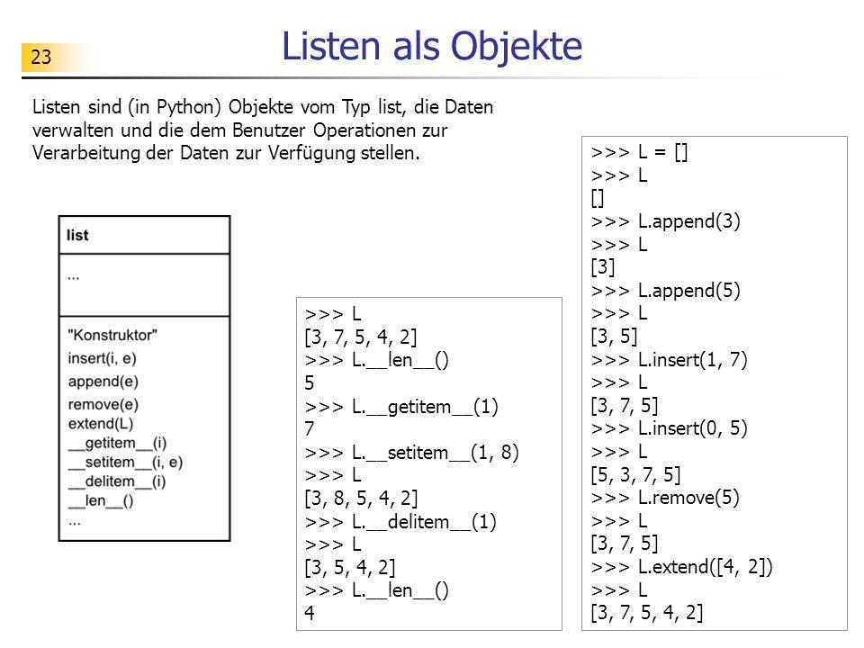 23 Listen als Objekte >>> L = [] >>> L [] >>> L.append(3) >>> L [3] >>> L.append(5) >>> L [3, 5] >>> L.insert(1, 7) >>> L [3, 7, 5] >>> L.insert(0, 5)
