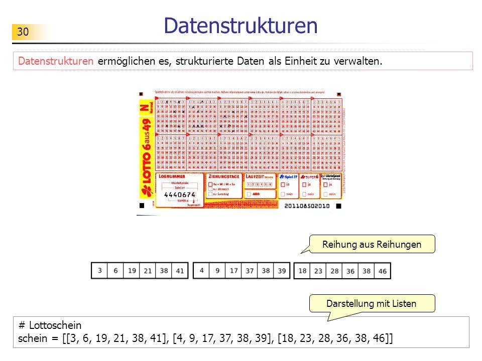 30 Datenstrukturen # Lottoschein schein = [[3, 6, 19, 21, 38, 41], [4, 9, 17, 37, 38, 39], [18, 23, 28, 36, 38, 46]] Datenstrukturen ermöglichen es, s