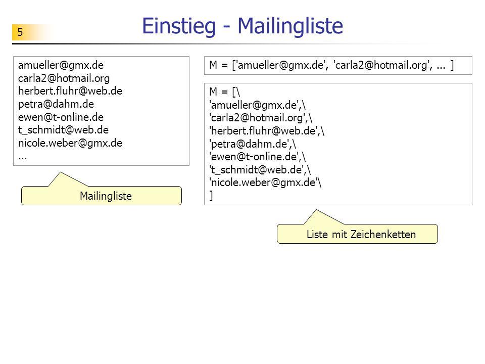 5 Einstieg - Mailingliste M = ['amueller@gmx.de', 'carla2@hotmail.org',... ]amueller@gmx.de carla2@hotmail.org herbert.fluhr@web.de petra@dahm.de ewen