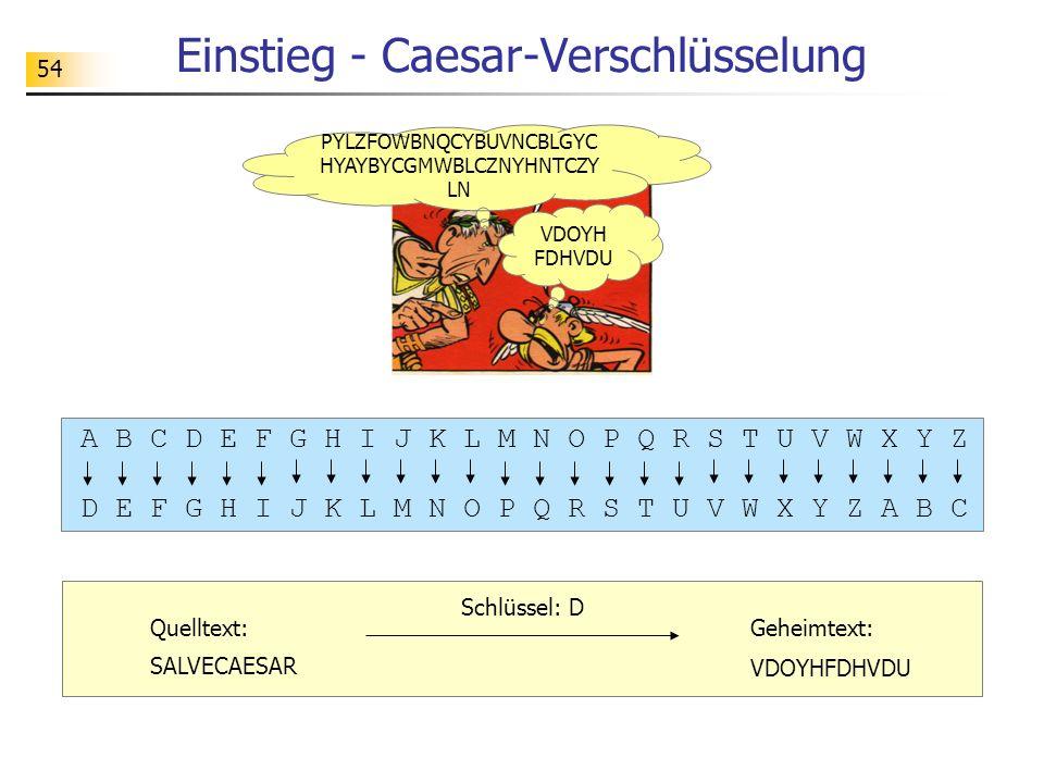 54 Einstieg - Caesar-Verschlüsselung A B C D E F G H I J K L M N O P Q R S T U V W X Y Z D E F G H I J K L M N O P Q R S T U V W X Y Z A B C Schlüssel