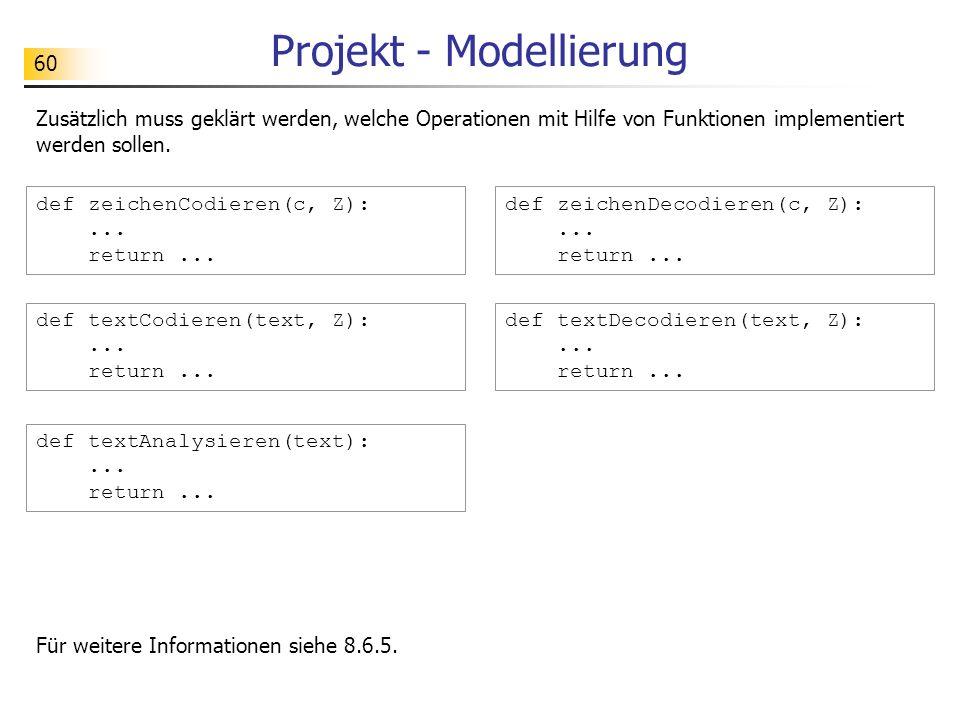 60 Projekt - Modellierung Zusätzlich muss geklärt werden, welche Operationen mit Hilfe von Funktionen implementiert werden sollen. def zeichenCodieren