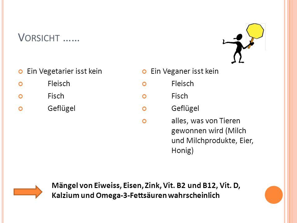 V ORSICHT …… Ein Vegetarier isst kein Fleisch Fisch Geflügel Ein Veganer isst kein Fleisch Fisch Geflügel alles, was von Tieren gewonnen wird (Milch u