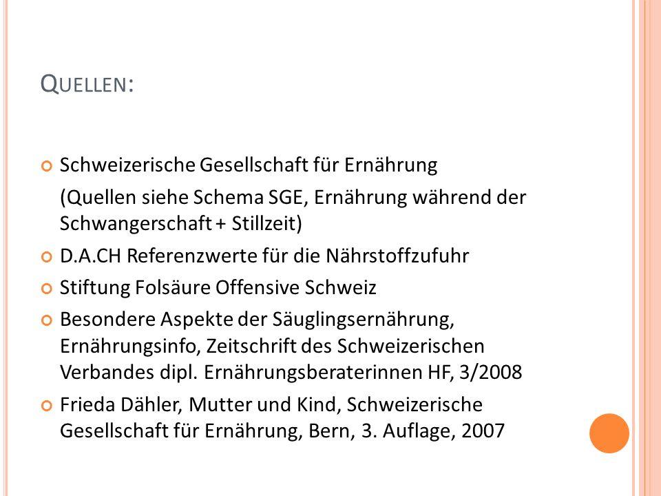 Q UELLEN : Schweizerische Gesellschaft für Ernährung (Quellen siehe Schema SGE, Ernährung während der Schwangerschaft + Stillzeit) D.A.CH Referenzwert