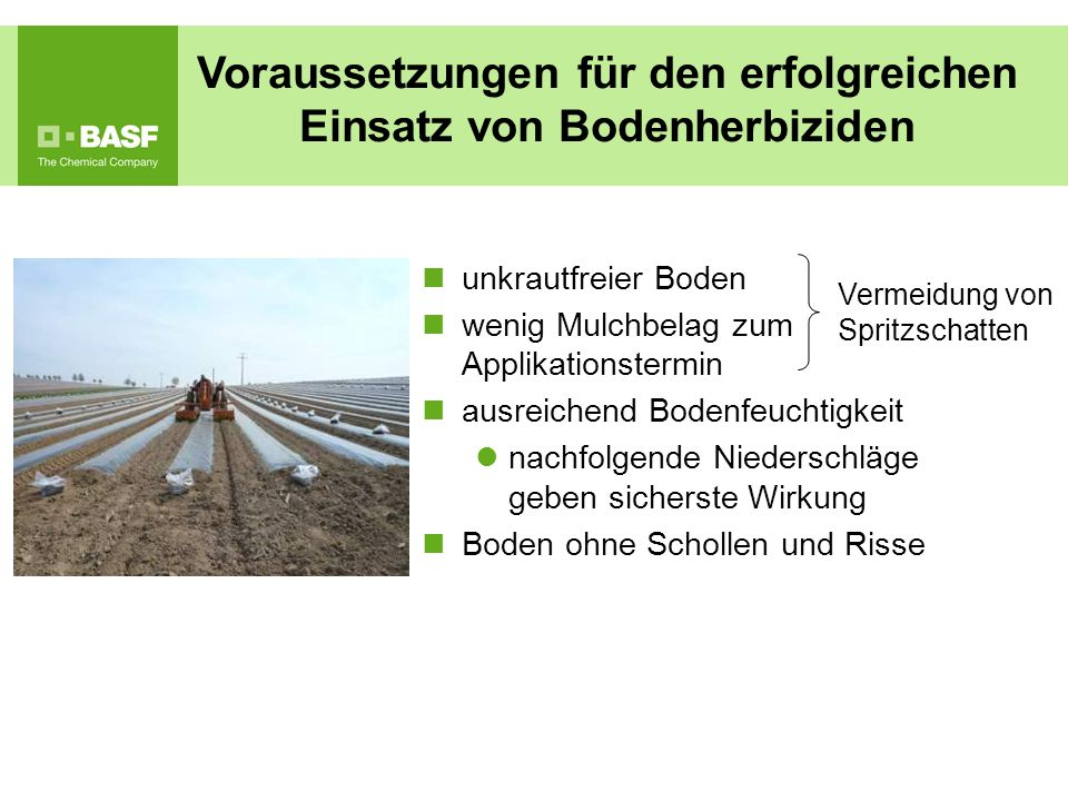 Voraussetzungen für den erfolgreichen Einsatz von Bodenherbiziden unkrautfreier Boden wenig Mulchbelag zum Applikationstermin ausreichend Bodenfeuchti