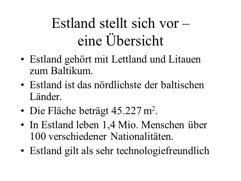 Estland stellt sich vor – eine Übersicht Estland gehört mit Lettland und Litauen zum Baltikum. Estland ist das nördlichste der baltischen Länder. Die