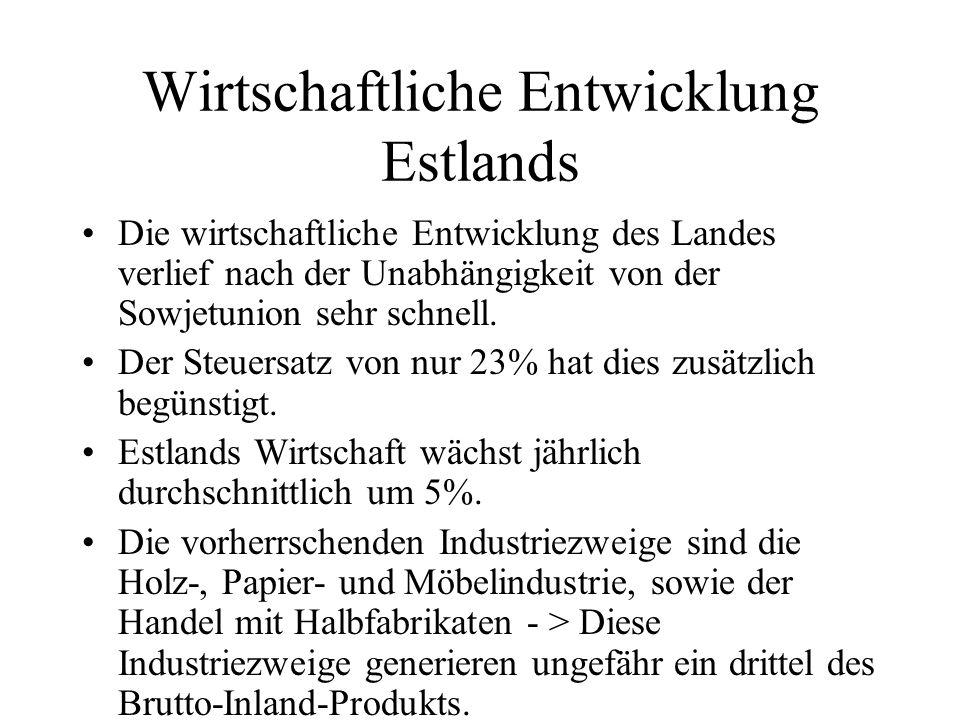 Wirtschaftliche Entwicklung Estlands Die wirtschaftliche Entwicklung des Landes verlief nach der Unabhängigkeit von der Sowjetunion sehr schnell. Der