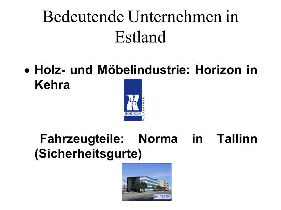 Elektronik: Elcoteq in Tallinn Baustoffe: Nordic Tsement in Kunda Bauindustrie: Merko Ehitus in Tallinn Textilindustrie: Krenholm (Küchentextilien) in Narva,