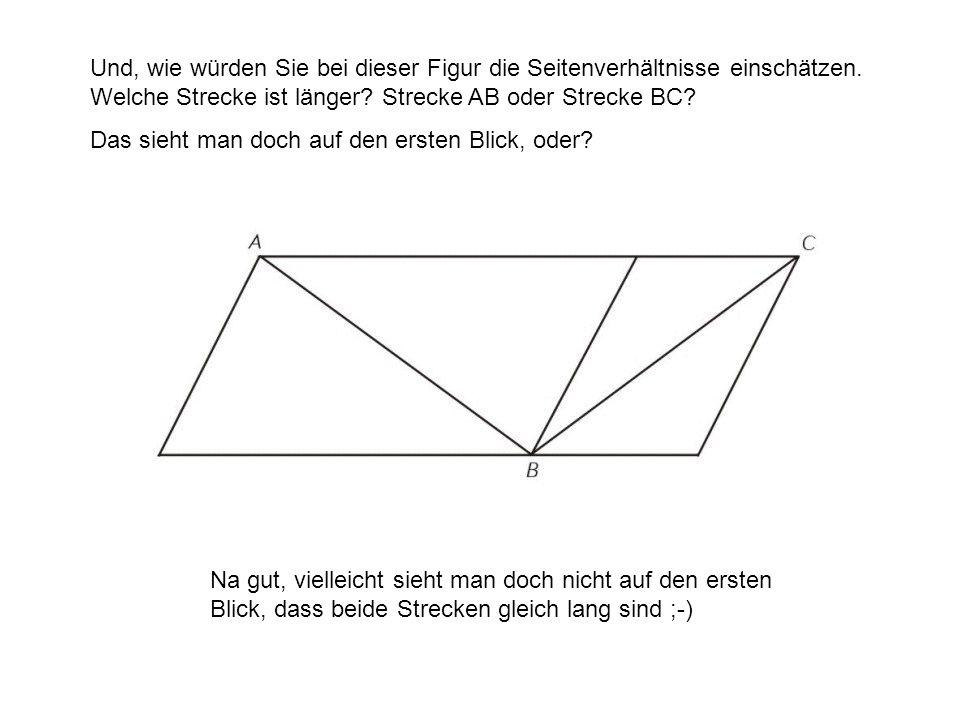 Und, wie würden Sie bei dieser Figur die Seitenverhältnisse einschätzen. Welche Strecke ist länger? Strecke AB oder Strecke BC? Das sieht man doch auf