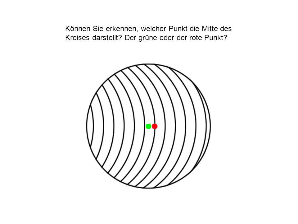 Können Sie erkennen, welcher Punkt die Mitte des Kreises darstellt? Der grüne oder der rote Punkt?