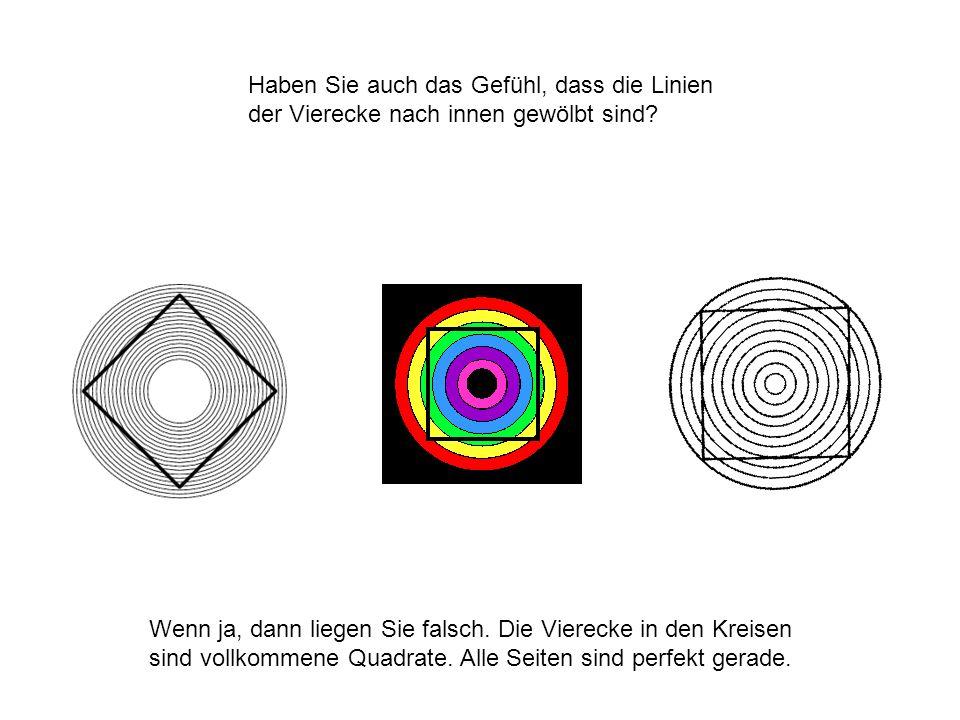 Haben Sie auch das Gefühl, dass die Linien der Vierecke nach innen gewölbt sind? Wenn ja, dann liegen Sie falsch. Die Vierecke in den Kreisen sind vol