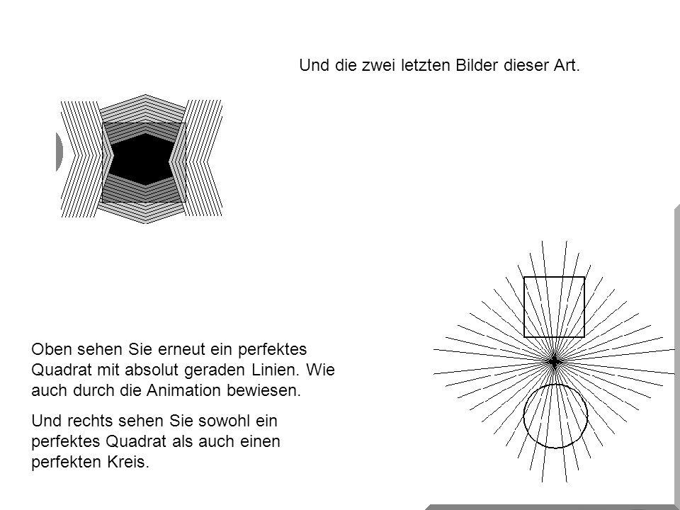 Und die zwei letzten Bilder dieser Art. Oben sehen Sie erneut ein perfektes Quadrat mit absolut geraden Linien. Wie auch durch die Animation bewiesen.