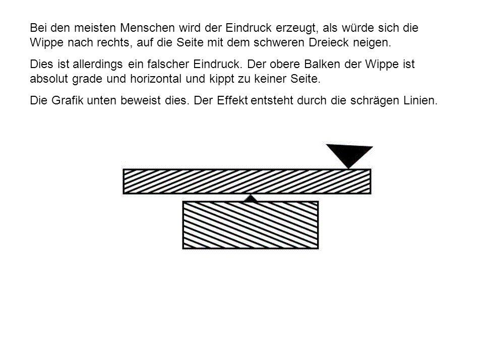 Bei den meisten Menschen wird der Eindruck erzeugt, als würde sich die Wippe nach rechts, auf die Seite mit dem schweren Dreieck neigen. Dies ist alle