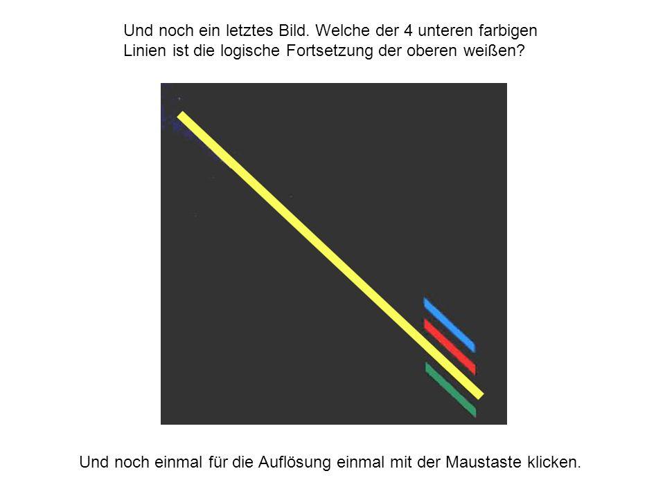 Und noch ein letztes Bild. Welche der 4 unteren farbigen Linien ist die logische Fortsetzung der oberen weißen? Und noch einmal für die Auflösung einm