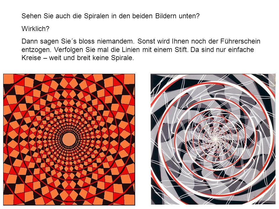 Sehen Sie auch die Spiralen in den beiden Bildern unten? Wirklich? Dann sagen Sie´s bloss niemandem. Sonst wird Ihnen noch der Führerschein entzogen.