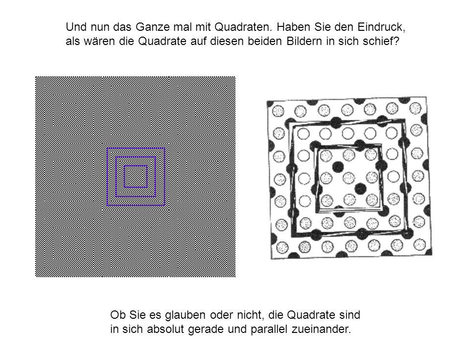 Und nun das Ganze mal mit Quadraten. Haben Sie den Eindruck, als wären die Quadrate auf diesen beiden Bildern in sich schief? Ob Sie es glauben oder n