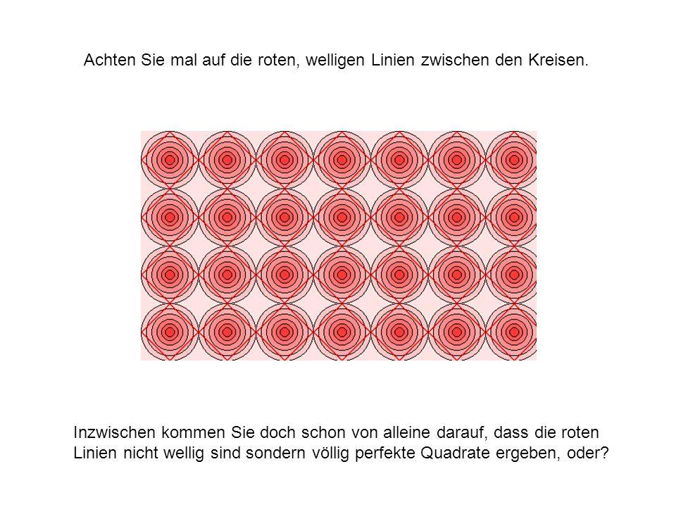 Achten Sie mal auf die roten, welligen Linien zwischen den Kreisen. Inzwischen kommen Sie doch schon von alleine darauf, dass die roten Linien nicht w