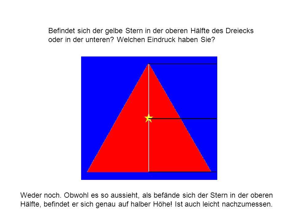Befindet sich der gelbe Stern in der oberen Hälfte des Dreiecks oder in der unteren? Welchen Eindruck haben Sie? Weder noch. Obwohl es so aussieht, al