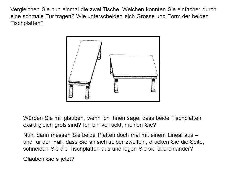 Vergleichen Sie nun einmal die zwei Tische. Welchen könnten Sie einfacher durch eine schmale Tür tragen? Wie unterscheiden sich Grösse und Form der be