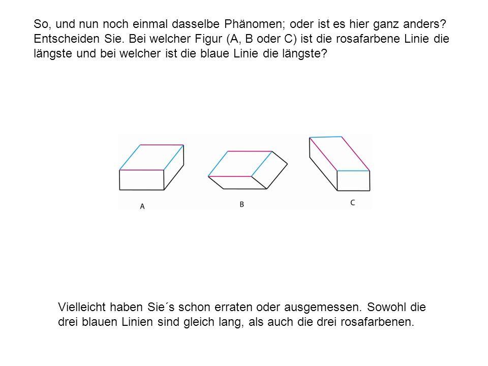 So, und nun noch einmal dasselbe Phänomen; oder ist es hier ganz anders? Entscheiden Sie. Bei welcher Figur (A, B oder C) ist die rosafarbene Linie di