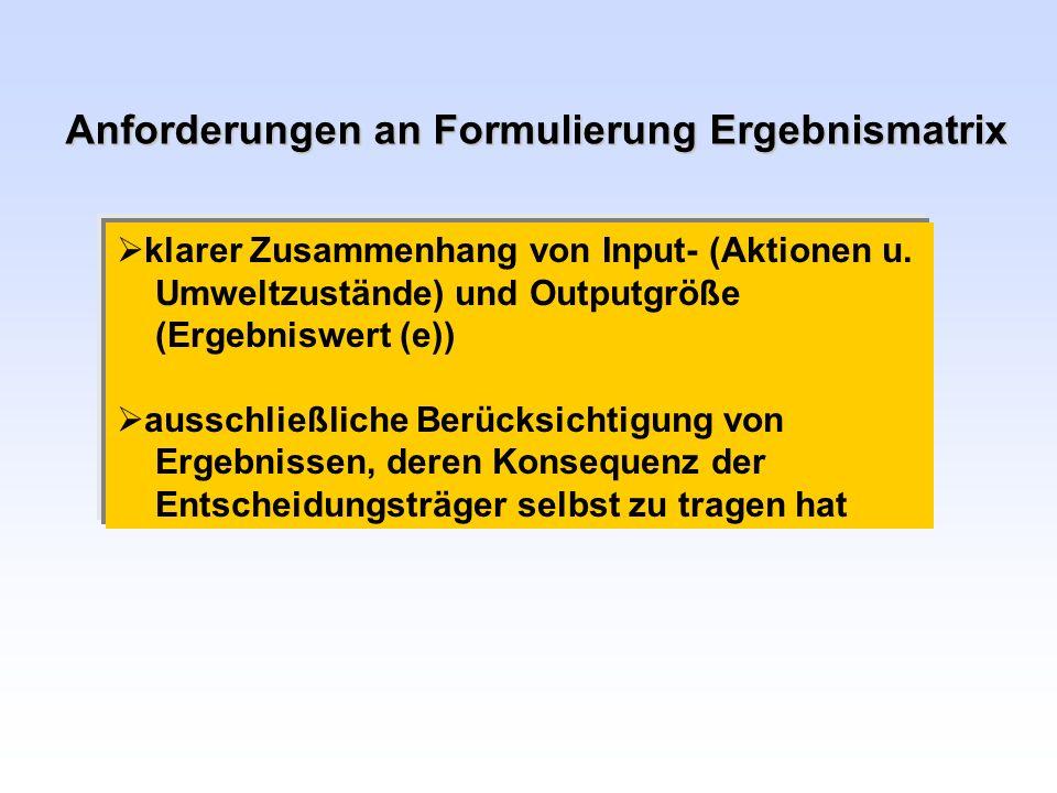 Anforderungen an Formulierung Ergebnismatrix klarer Zusammenhang von Input- (Aktionen u. Umweltzustände) und Outputgröße (Ergebniswert (e)) ausschließ