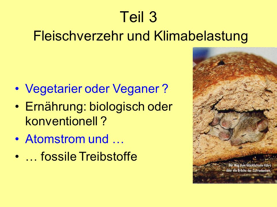 Teil 3 Fleischverzehr und Klimabelastung Vegetarier oder Veganer ? Ernährung: biologisch oder konventionell ? Atomstrom und … … fossile Treibstoffe