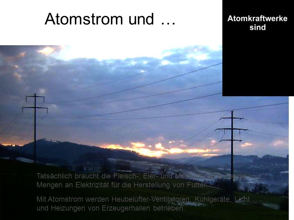 Atomstrom und … Mit Atomstrom werden Heubelüfter-Ventilatoren, Kühlgeräte, Licht und Heizungen von Erzeugerhallen betrieben. Tatsächlich braucht die F