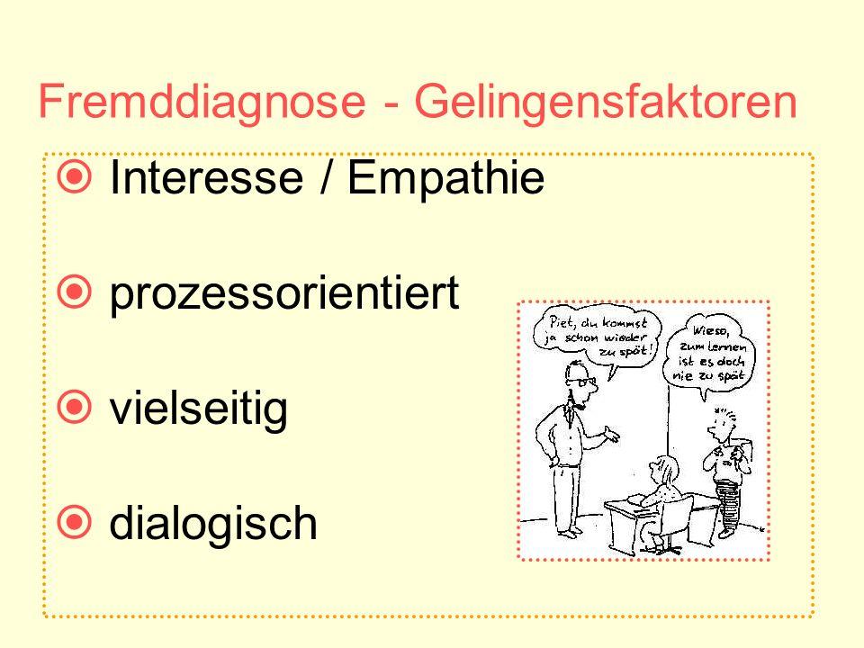 Fremddiagnose - Gelingensfaktoren Interesse / Empathie prozessorientiert vielseitig dialogisch