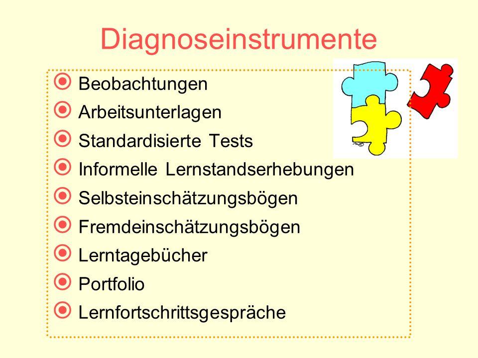 Diagnoseinstrumente Beobachtungen Arbeitsunterlagen Standardisierte Tests Informelle Lernstandserhebungen Selbsteinschätzungsbögen Fremdeinschätzungsb