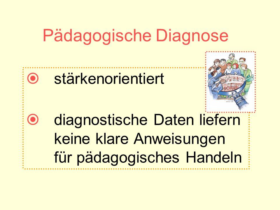 Pädagogische Diagnose stärkenorientiert diagnostische Daten liefern keine klare Anweisungen für pädagogisches Handeln