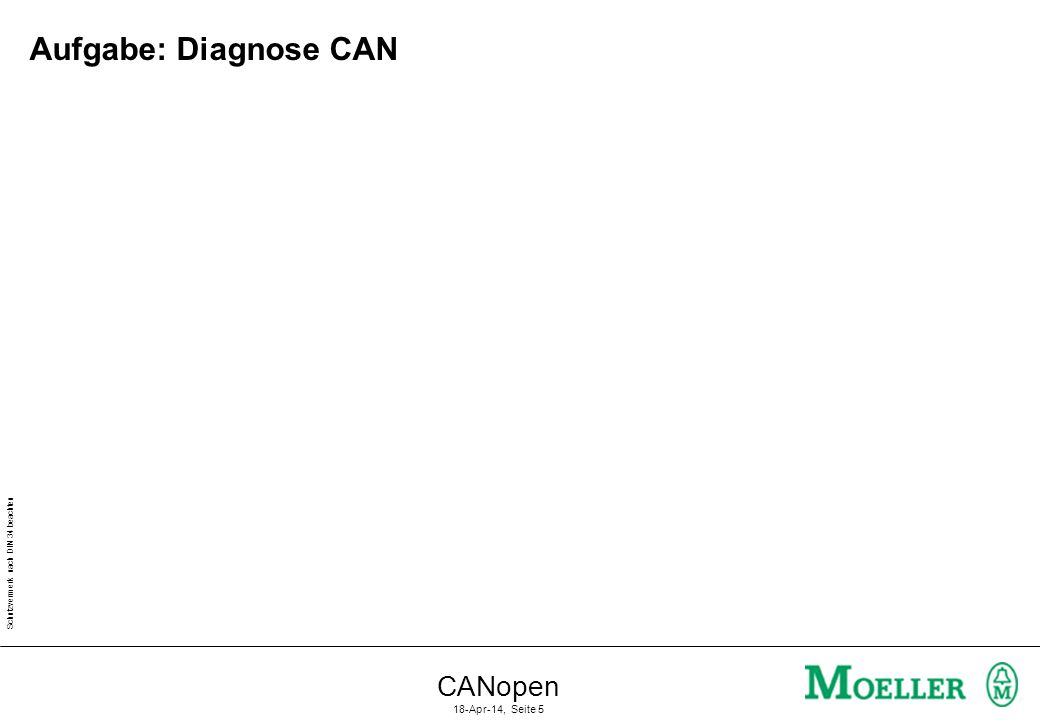 Schutzvermerk nach DIN 34 beachten CANopen 18-Apr-14, Seite 5 Aufgabe: Diagnose CAN